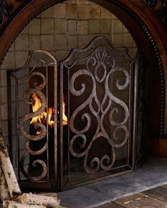 Ambella Scroll Fireplace Screen - home decor, indoor decorations (a three-panel fire screen filled with golden scrolls adds beauty and function to your fireplace)