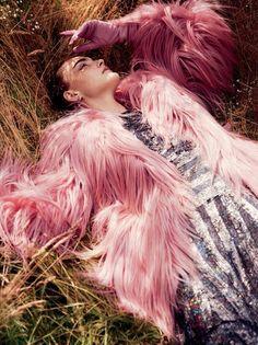 "So much pink fur! ""Belle Fleur"" | Caroline Trentini by David Sims for Vogue September 2014"