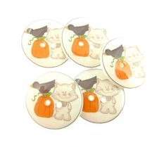 5 Cat Crow and Pumpkin Handmade Fall or Autumn by buttonsbyrobin
