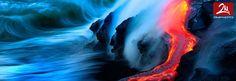 Nick Selway, 28, e Kale CJ, 35, hanno rischiato la vita per diventare i primi a catturare le esplosioni di lava di fuoco che si riversano nelle acque del mare in mare.