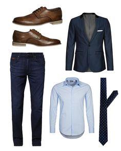 Casual-Business-Outfit für Herren mit Slim-Fit Sakko und Jeans