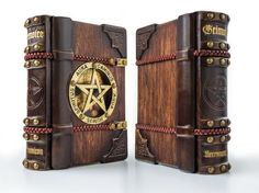 The Necronomicon wooden leather journal, 7 x 9 inches, art journal, magic journal, grimoire, book of shadows, book art