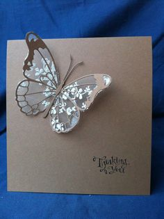 "By Bermarc shop on etsy. Die cut Memory Box ""Darla Butterfly"" from cotton lace. Die cut Memory Box ""Vivienne Butterfly"" and body from cardstock. Attach lace die-cut to back of cardstock butterfly."