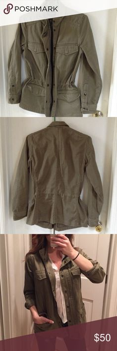 Club Monaco Utility Jacket Club Monaco Utility Jacket in Olive size Small.  Worn several times. It was one of my favorite CM Jacket. No longer fits.  Good condition. No stains.  4 Pockets  2 zippers ( see pic) | Black zipper. Adjustable waist lace inside jacket.   Feel free to make an offer! Club Monaco Jackets & Coats Utility Jackets