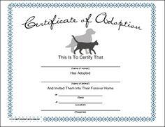 Free printable dog adoption kit adoption party adoption a certificate for adopting a pet cat yadclub Images