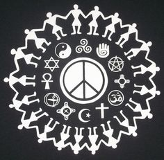 S XL Coexist Religious Tolerance Peace Crew T-Shirt by TerraWear