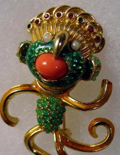 Rare Signed CINER Brooch Figural Medicine Man Dancer Coral Jade Lucite Enamel #Ciner