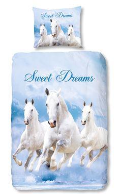 Kinderdekbedovertrek - Horses Blue - Goodmorning
