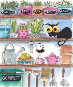 Original watercolor painting whimsical Stressie Cat spider crow garden Shelf  #IllustrationArt