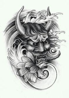 Japan Tattoo Design, Sketch Tattoo Design, Tattoo Sketches, Tattoo Drawings, Hannya Mask Tattoo, Hanya Tattoo, Sak Yant Tattoo, Forarm Tattoos, Irezumi Tattoos