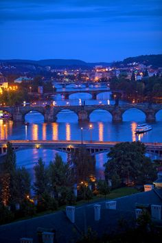 Vltava River, Prague, Czech Republic. Look at all the ancient bridges!