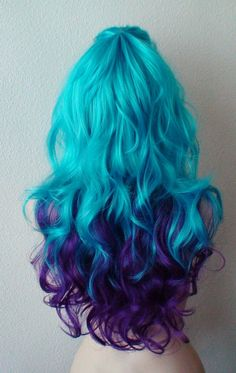 """Keke-Wig by 2015 Color: Deep Purple / Teal Blue Hair style: Long curly hair Part: The center can be separated to the left or right side Circle Length: 26 """"Cap Size: Adjust 225 on average to 2223 Can """"Net weight: 9 Oz Hair type: - Ombre Hair Purple Blue Ombre, Dark Blue Hair, Purple Wig, Brown Ombre Hair, Light Brown Hair, Deep Purple, Blue Wig, Dark Brown, Blonde And Blue Hair"""