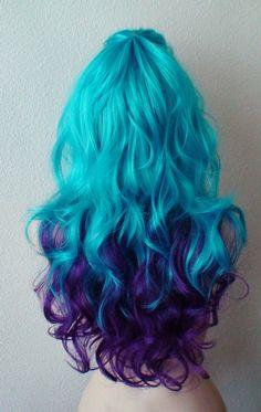 ケケ - 2015年によってかつら 色: ディープ パープル/ティール ブルー 髪のスタイル: 長い巻き毛 パート: 中央部は左右どちら側に別れたことができますサークル 長さ: 26」 キャップ サイズ: 2223 に平均 22.5 を調整ことができます」 正味重量: 9. オズ。 髪のタイプ: