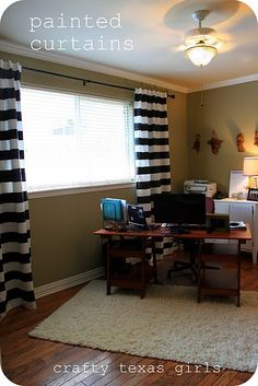 Painted Striped Curtains IKEA hack