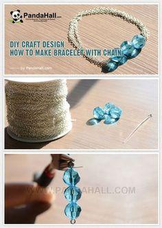 Jewelry Making Tutorial-DIY Homemade Blue Bead Bracelet with Chain   PandaHall Beads Jewelry Blog