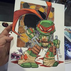 Chibi Battle Damaged Raph! Great preorder request from Heroes. Who has he been scrappin' with?Lots of art being cooked up in Charlotte. #tmnt #raphael #ninjaturtles #chibi #cute