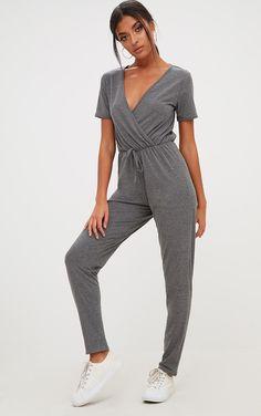 5e3b670b0d61 Charcoal Jersey Wrap Jumpsuit