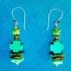 Sale 5 Dollars Off One Only+TURQUOISE* EARRINGS 3 Different Colors Gems+Cross Shaped+Sterling Fancy French Hooks+Sterling Wired+Free Ship* by TjeansJewelry on Etsy