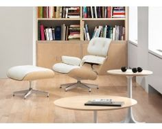 Herman Miller Eames® Lounge Chair and Ottoman White Ash - Updated to complement today's lighter interiors, this white ash version of the design by Charles and Ray Eames is a fresh take .