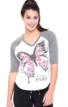 Deb Shops Raglan Baseball Top with Butterfly Paris Screen $10.75