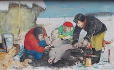 'Slaughtering a Pig' by William Kurelek at Mayberry Fine Art