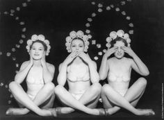 """""""Hear No Evil, Speak No Evil, See No Evil"""". Three actresses on stage as the three wise monkeys in the show """"Voila Les Dames"""", London, Prince Of Wales Theatre, Three Wise Monkeys, See No Evil, London Theatre, Ol Days, Social Events, Showgirls, Vintage Photography, Vintage Images"""
