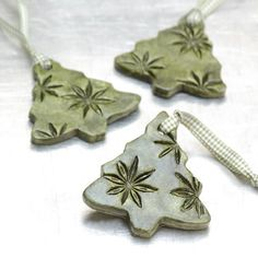 Ceramic Ornament with Star Anise Impressions by JewelryByMondaen