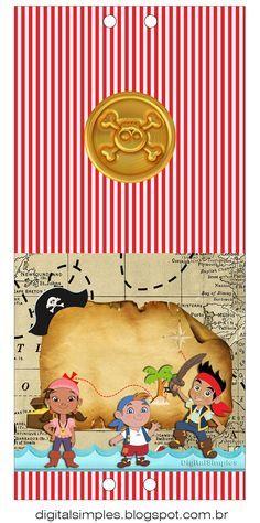 """Kit Artes Digitais """"Jake e os Piratas"""" - Convites Digitais Simples"""