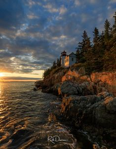 Bass Harbor Lighthouse, Acadia National Park, Maine at sunset.  Fine art landscape prints and wall art available for sale. #RobDaviesImages #Maine #Acadia #NewEngland #BassHarbor #BassHarborLighthouse #Ocean #coast #sunset