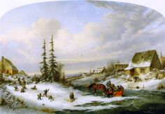 """""""Playtime, Village School"""", Oil On Panel by Cornelius David Krieghoff Oil Painting For Sale, Paintings For Sale, Painting & Drawing, Canadian Painters, Canadian Artists, Snow Scenes, Winter Scenes, Currier And Ives, Cornelius"""