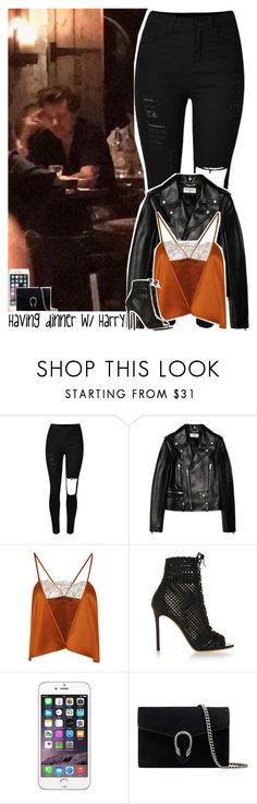 """""""Having dinner with Harry"""" by lottieaf ❤ liked on Polyvore featuring Yves Saint Laurent, Wes Gordon, Gianvito Rossi, Gucci, OneDirection and harrystyles"""