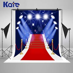 Blue Photography Backdrops Red Carpet Ladder Stage Lighting