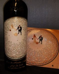 Etched and hand painted Wedding bottle from a photo of the couple. Artist, Candice Norcross.