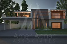 A beautiful home elevation style by AmerAdnan Associates with latest lightning effects.