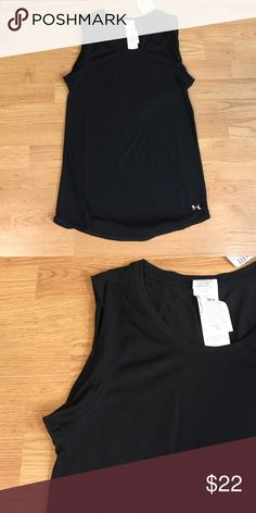 {Under Armour} Loose Heat Gear Top Brand new with tags. Black, loose fit, long length, pretty arm fabric detail for a stylish fit. Front at longest length 29 inches, 26 at shortest length. Heat gear is light weight to keep you co and dry. Under Armour Tops