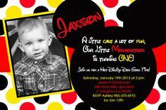 Jaxson on his 1st Birthday.  Mickey Mouse Party.