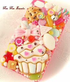 fon fon sweets Kawaii Phone Case, Decoden Phone Case, Diy Phone Case, Cute Phone Cases, Diy Whipped Cream, Homemade Phone Cases, Iphone 6, Iphone Cases, Kawaii Stickers