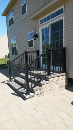 Black Powder Coated Aluminum Railing will give your paver steps that pop (Patio Step Garage) Patio Steps, Front Porch Steps, Brick Steps, Outdoor Steps, Concrete Patios, Concrete Steps, Brick Patios, Brick Porch, Porch Step Railing