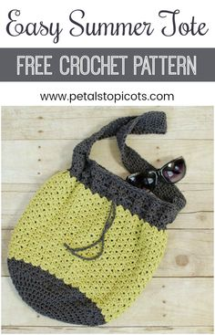 A casual and lightweight summer crochet bag pattern ... perfect for a day aroundthe town or a trip to the beach! This pattern is worked in two colors of cotton yarn to make it lightweight yet durable. #petalstopicots