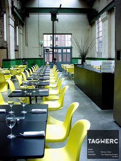 the_wapping_project_power_station_panton_chair_yellow_gelb_verner_panton_vitra_table_black_tisch_schwarz_glass_glaeser. Restaurant Tables And Chairs, Bar Chairs, Ashley Furniture Chairs, Panton Chair, Cool Bars, Cafe Restaurant, Egg Chair, Pantone, Interior Design