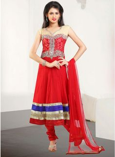 Stunning Rose-madder Red #anarkali_suit with leaf work