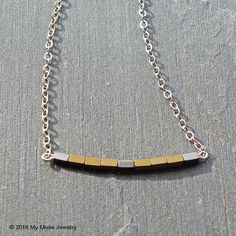 """Layering Necklaces, Sterling Silver and Gold Hematite Necklace - 18"""" Modern Layering Necklace from www.mymusejewelry.com"""
