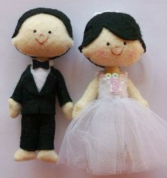 wedding felt dolls  i made this for cake topper by beatriz