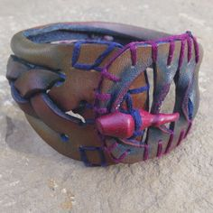 Handmade Leather Bracelet 5 1/2 to 7 Purple by PerStephanieLeather, $40.00