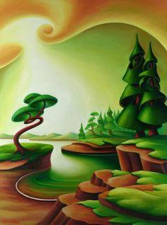 Bold Bluff by Dana Irving Landscape Art, Landscape Paintings, Newspaper Crafts, Canadian Art, Naive Art, Art For Art Sake, Surreal Art, Types Of Art, Tree Art