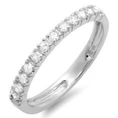 0.40 Carat (ctw) 14K Gold Round Diamond Anniversary Wedding Ring Stackable Band *** Wow! I love this. Check it out now! : Wedding Rings Jewelry