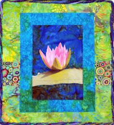 Quilted Lotus Wall Hanging.