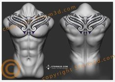 de colarinho upperback-maori-tattoo-chestplate-design by-Storm3d #samoantattooschest