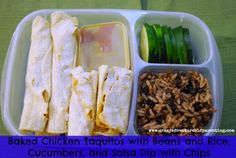 The kids LOVED these! Baked Chicken Taquitos with beans and rice for school lunch