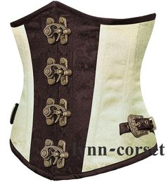 2d7b8e9059 BROWN-WHITE Lace Up Boned Underbust Basque Steampunk Corset Halloween Top  S-XXL